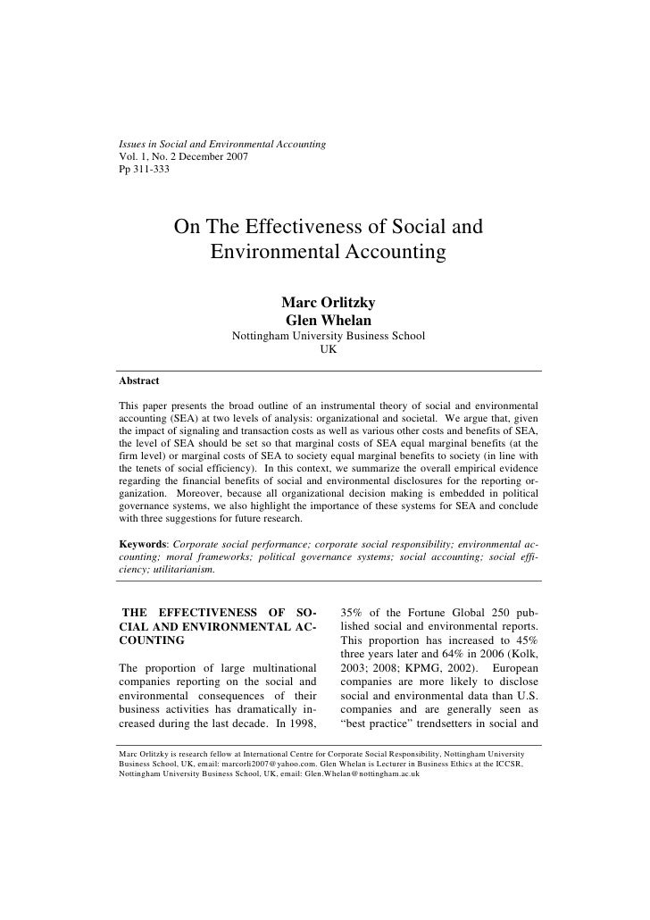 Issues in Social and Environmental AccountingVol. 1, No. 2 December 2007Pp 311-333               On The Effectiveness of S...