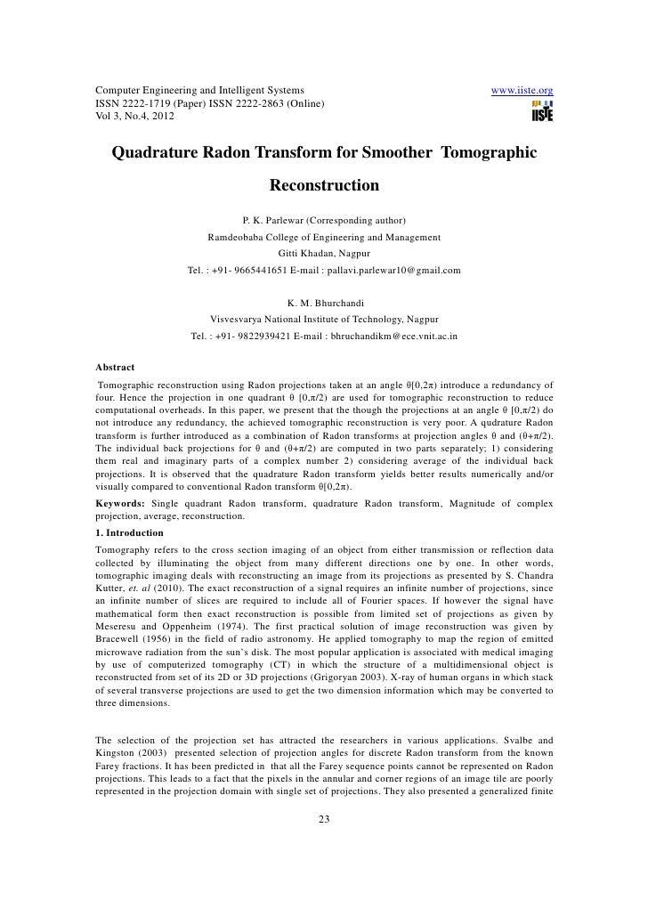 11.quadrature radon transform for smoother  tomographic reconstruction