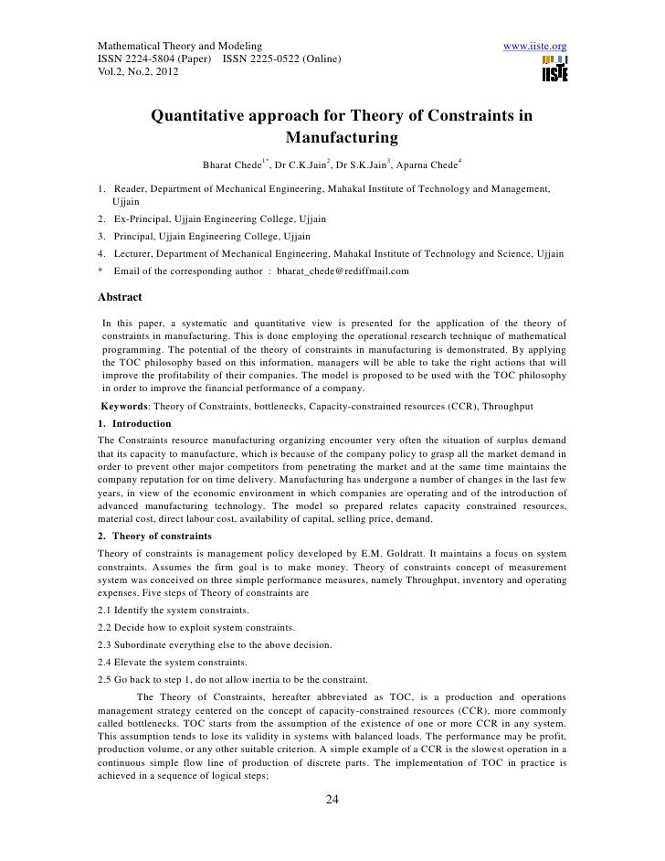 11.quantitative approach for theory of constraints in manufacturing