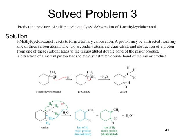 dehydration of methylcyclohexanol essay Essay assignment help assignment samples & examples the acid-catalyzed dehydration of 1-methylcyclohexanol yields a mixture of two alkenes.