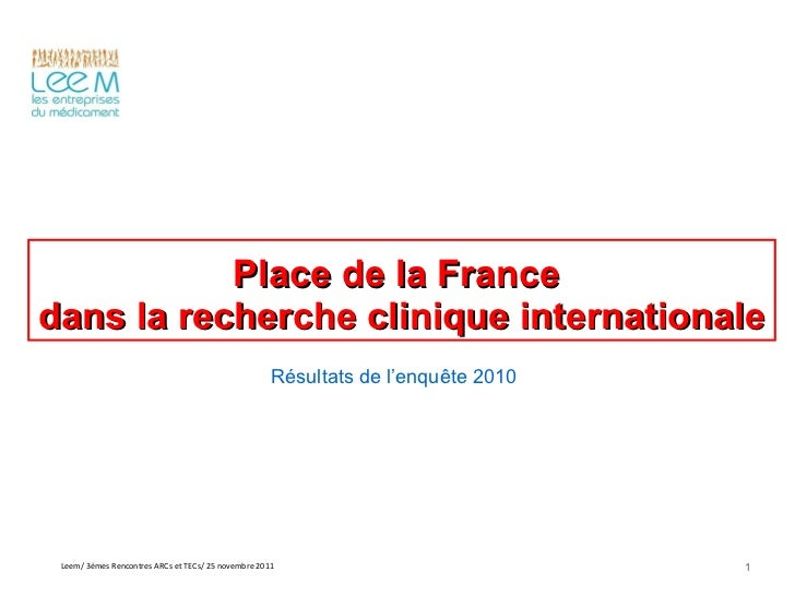 RRC 2011 : Place de la France dans la recherche clinique internationale