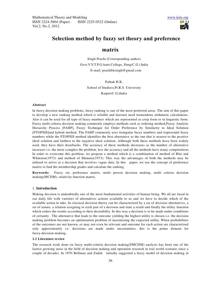 11.selection method by fuzzy set theory and preference matrix