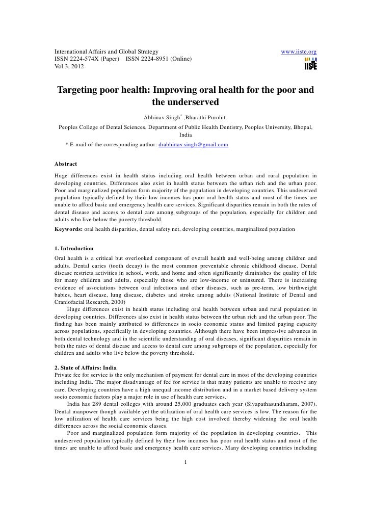 11.targeting poor health improving oral health for the poor and the underserved