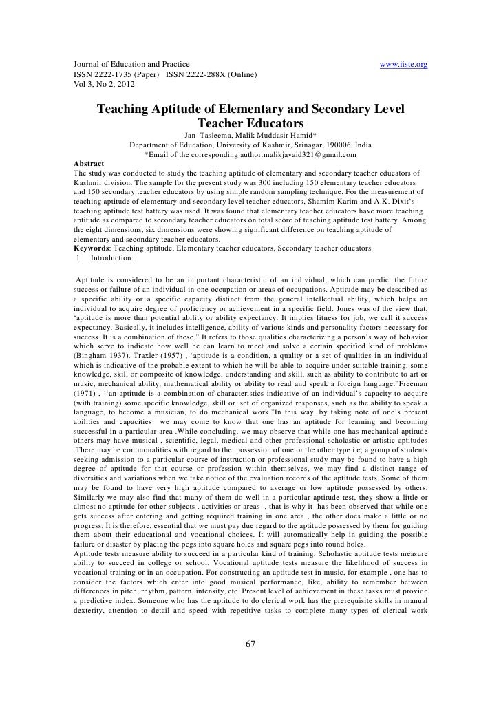 11.teaching aptitude of elementary and secondary level teacher educators
