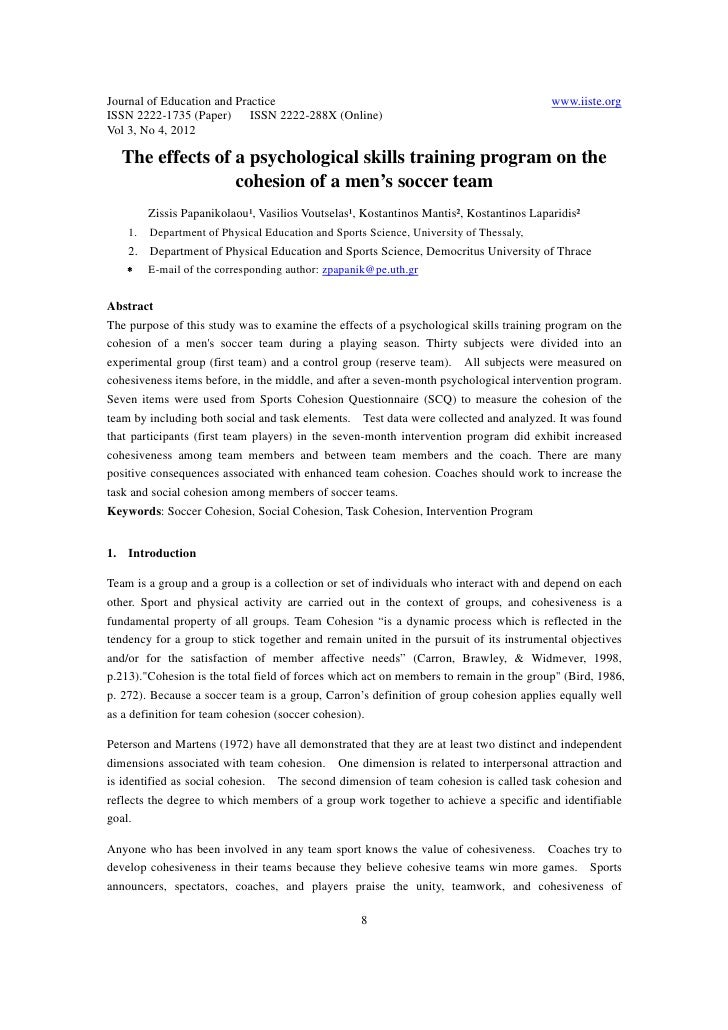 11.the effects of a psychological skills training program on the cohesion of a men抯 soccer team