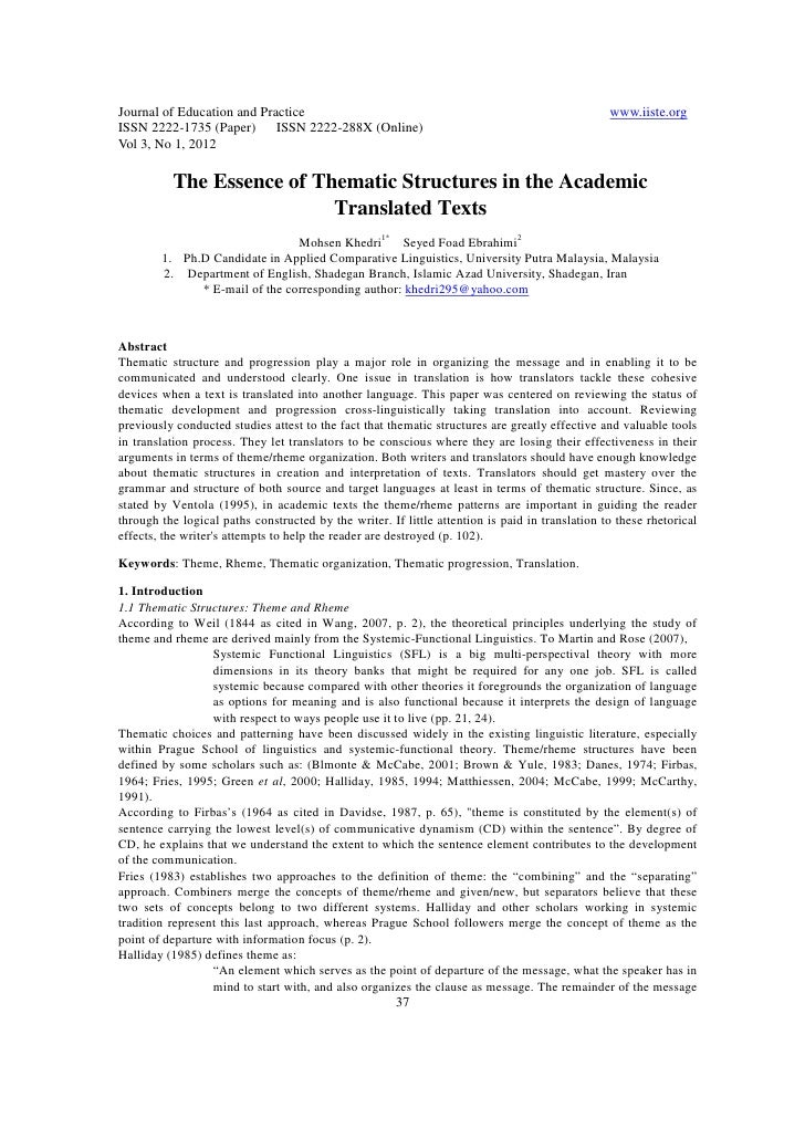 11.the essence of thematic structures in the academic translated texts
