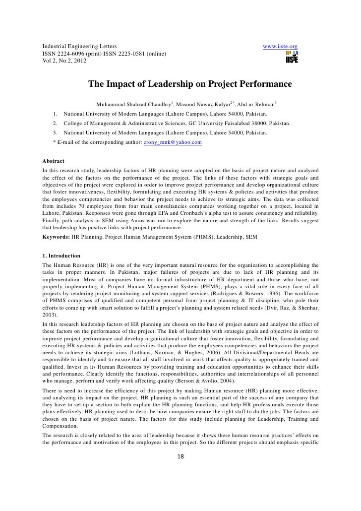 11.the impact of leadership on project performance