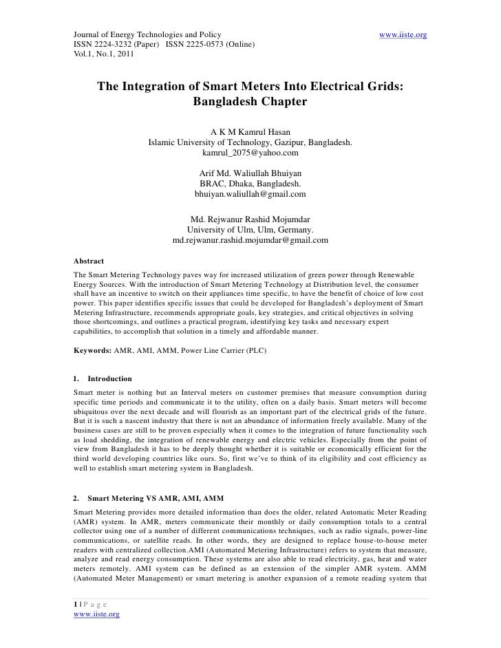 11.the integration of smart meters into electrical grids bangladesh chapter