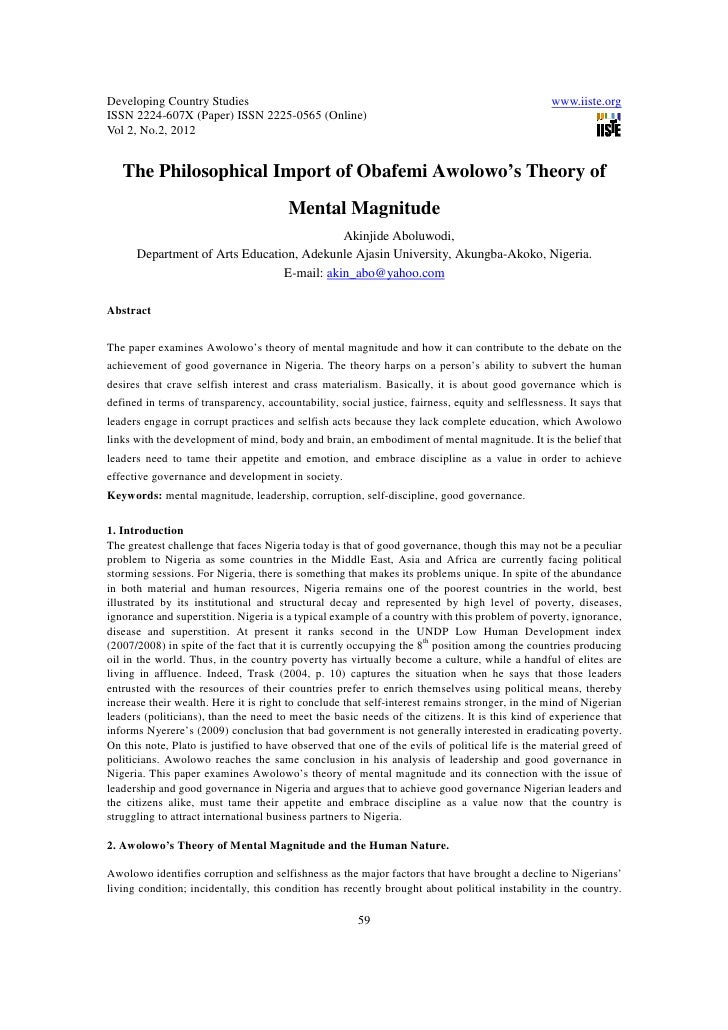11.the philosophical import of obafemi awolowo抯 theory of mental magnitude