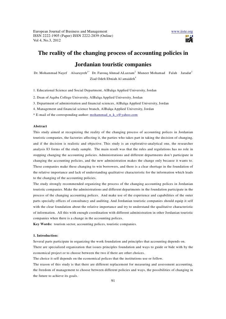 11.the reality of the changing process of accounting policies in jordanian touristic companies