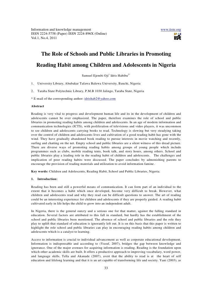 11.the role of schools and public libraries in promoting reading habit among children and adolescents in nigeria