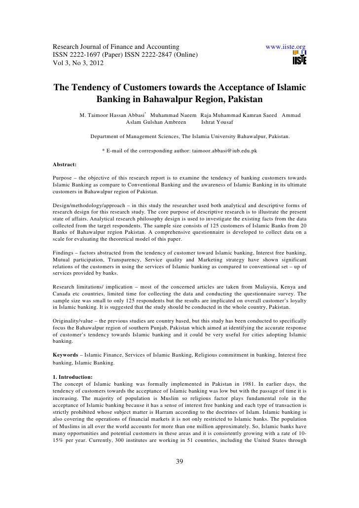 11.the tendency of customers towards the acceptance of islamic banking in bahawalpur region