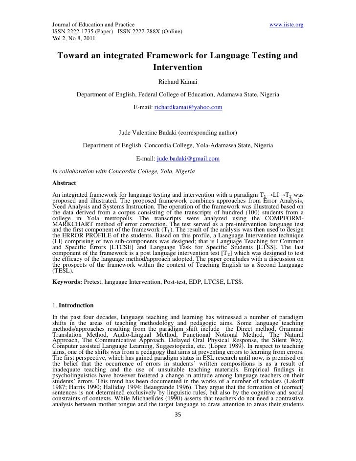 11.toward an integrated framework for language testing and intervention