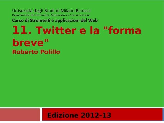 """11. Twitter e la """"forma breve"""""""