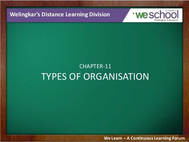Welingkar's Distance Learning Division CHAPTER-11 TYPES OF ORGANISATION We Learn – A Continuous Learning Forum