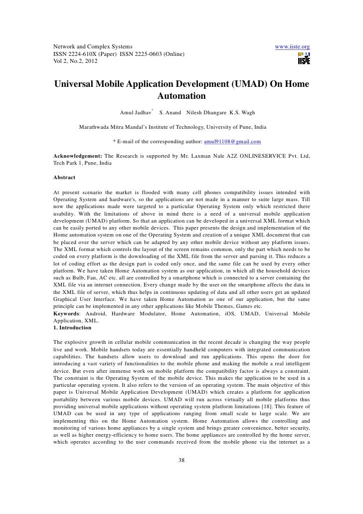 11.universal mobile application development (umad) on home automation