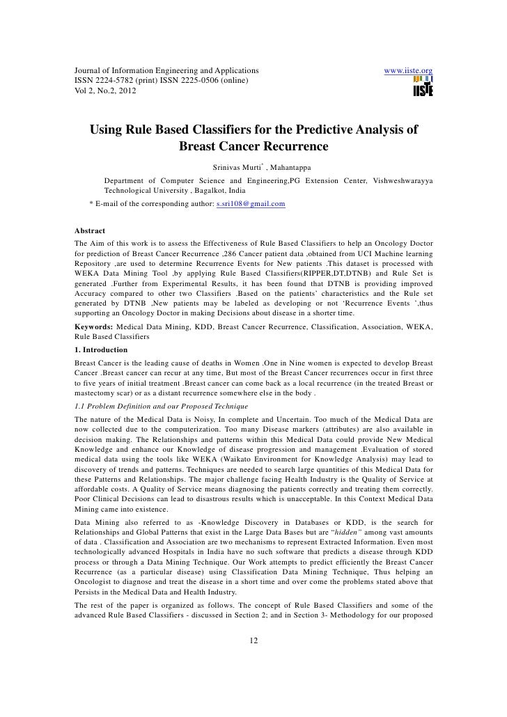 11.using rule based classifiers for the predictive analysis of breast cancer recurrence
