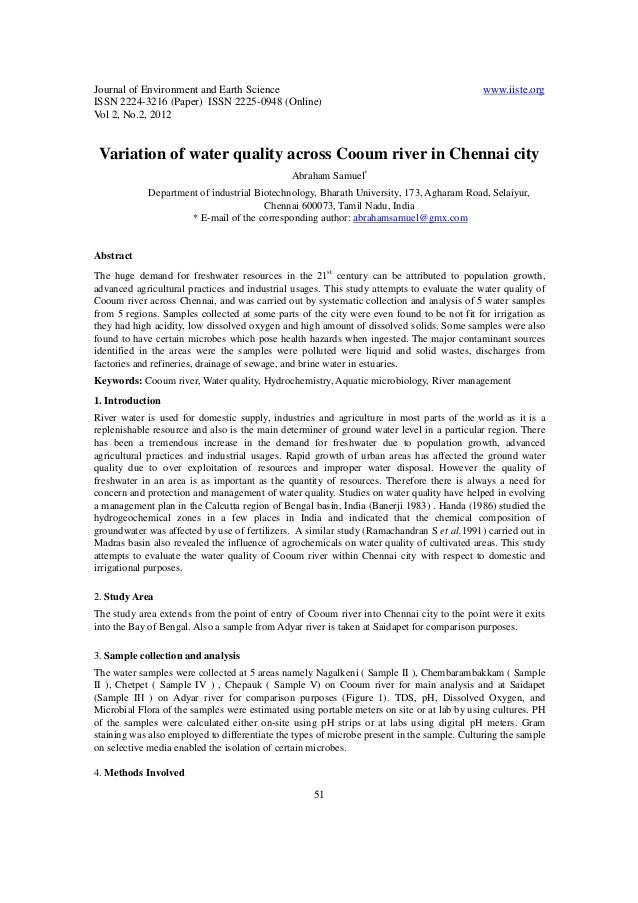 Journal of Environment and Earth Science www.iiste.org ISSN 2224-3216 (Paper) ISSN 2225-0948 (Online) Vol 2, No.2, 2012 51...
