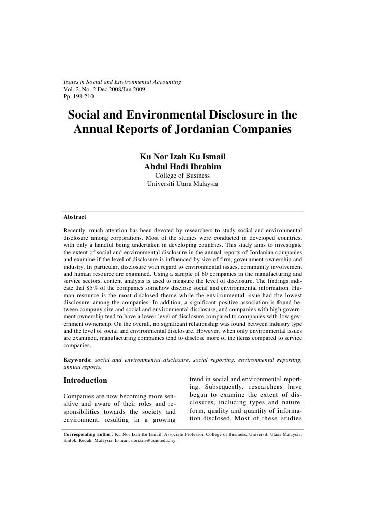 Issues in Social and Environmental AccountingVol. 2, No. 2 Dec 2008/Jan 2009Pp. 198-210  Social and Environmental Disclosu...