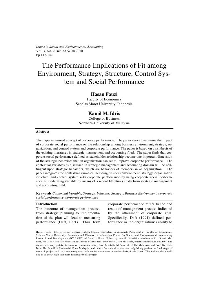 Issues in Social and Environmental AccountingVol. 3, No. 2 Dec 2009/Jan 2010Pp 117-142  The Performance Implications of Fi...