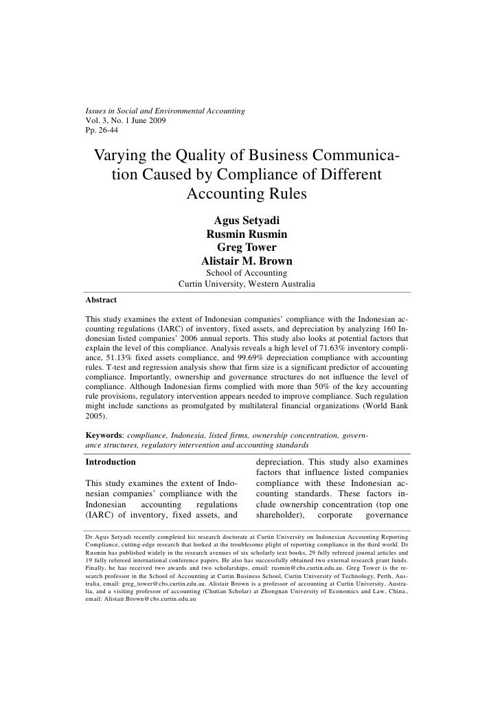 Issues in Social and Environmental AccountingVol. 3, No. 1 June 2009Pp. 26-44  Varying the Quality of Business Communica- ...