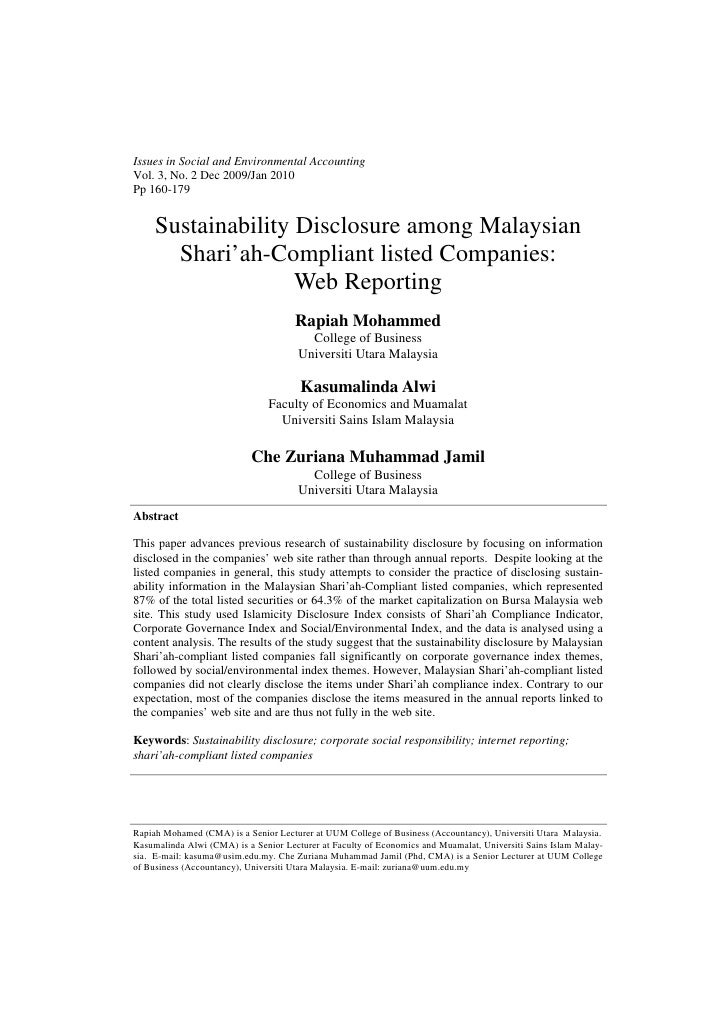 Issues in Social and Environmental AccountingVol. 3, No. 2 Dec 2009/Jan 2010Pp 160-179     Sustainability Disclosure among...