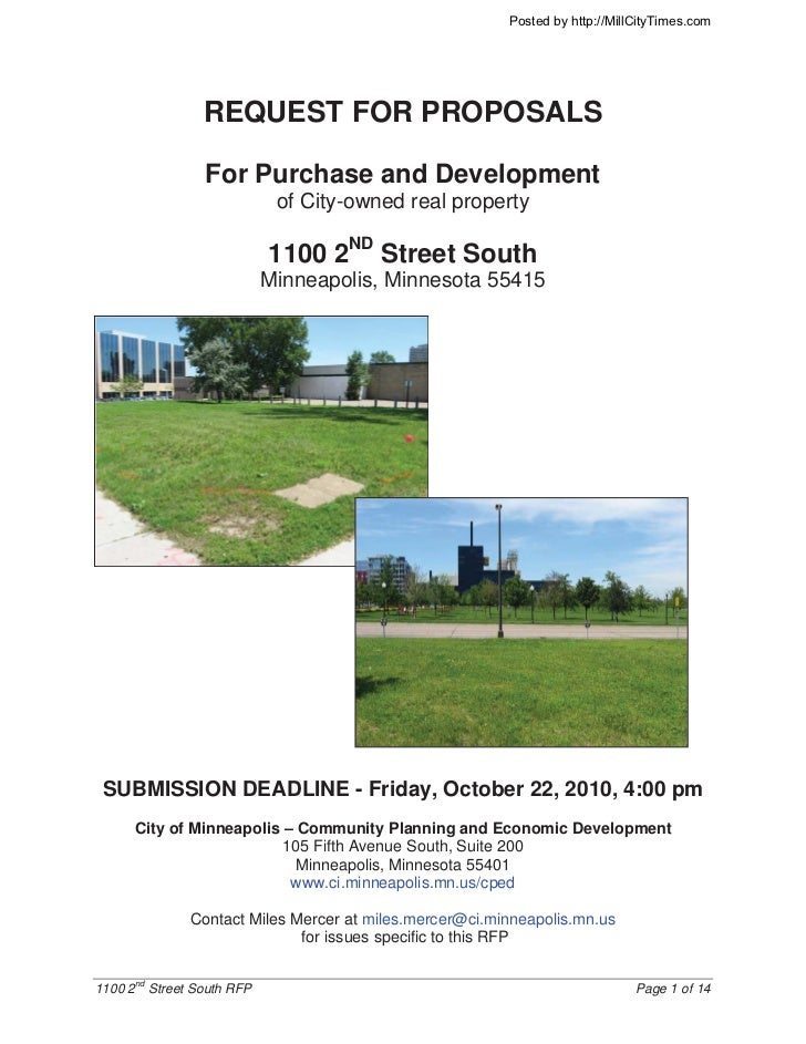 Posted by http://MillCityTimes.com                 REQUEST FOR PROPOSALS                 For Purchase and Development     ...
