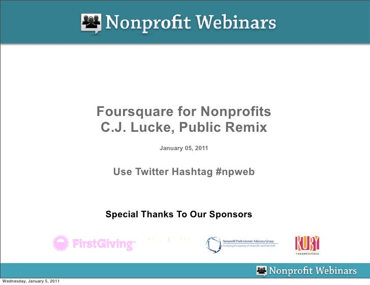 Foursquare for Nonprofits                             C.J. Lucke, Public Remix                                         Jan...