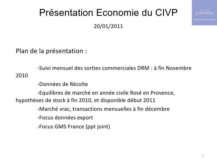 <ul><li>Présentation Economie du CIVP </li></ul><ul><li>20/01/2011 </li></ul><ul><li>Plan de la présentation : </li></ul><...