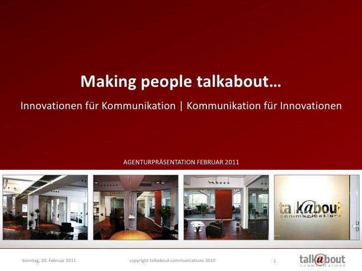 talkabout Agenturpräsentation