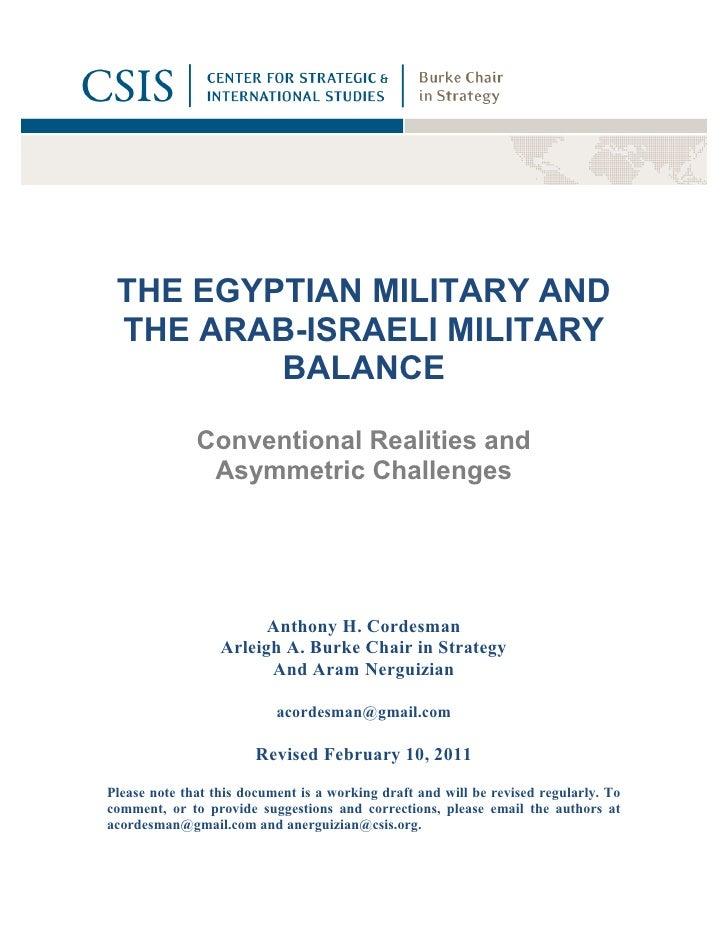 THE EGYPTIAN MILITARY AND the arab Israeli Military balance CSIS report 2000