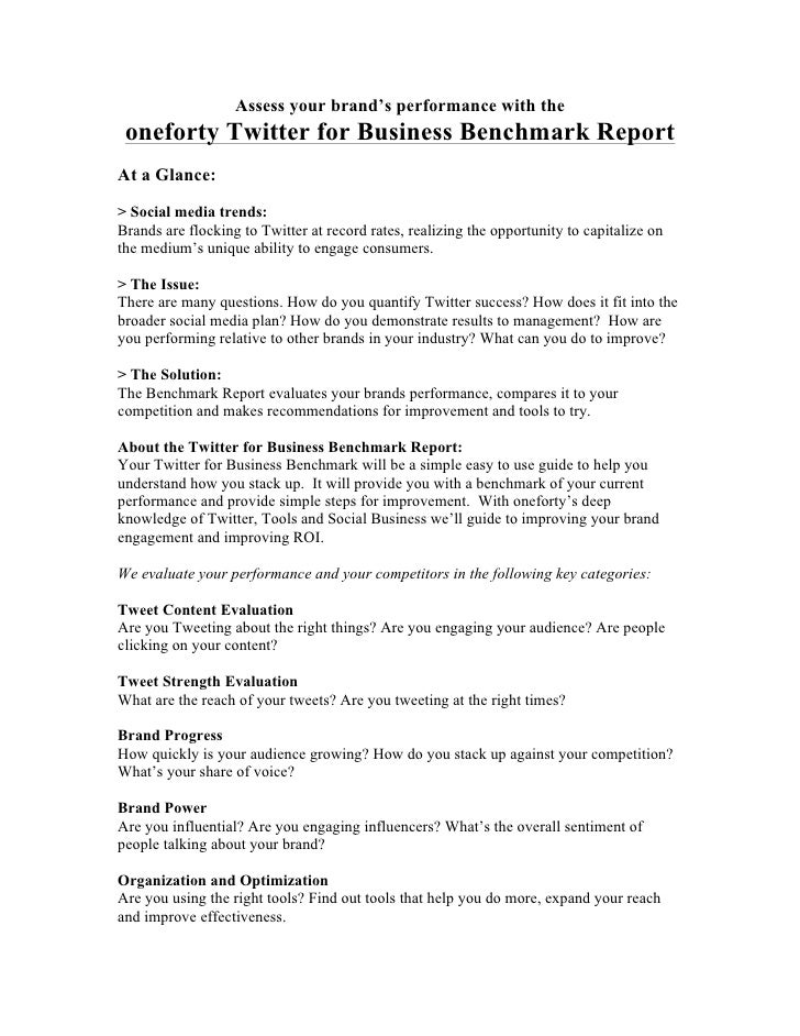 Assess your brand's performance with the oneforty Twitter for Business Benchmark ReportAt a Glance:> Social media trends:B...