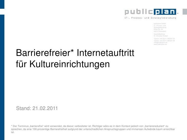 Barrierefreier Internetauftritt für Kultureinstitutionen