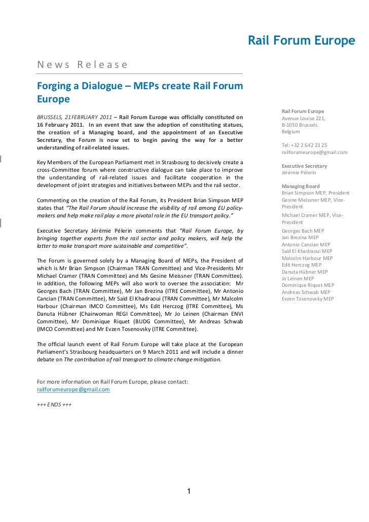 Creating of Rail Forum Europe – press release