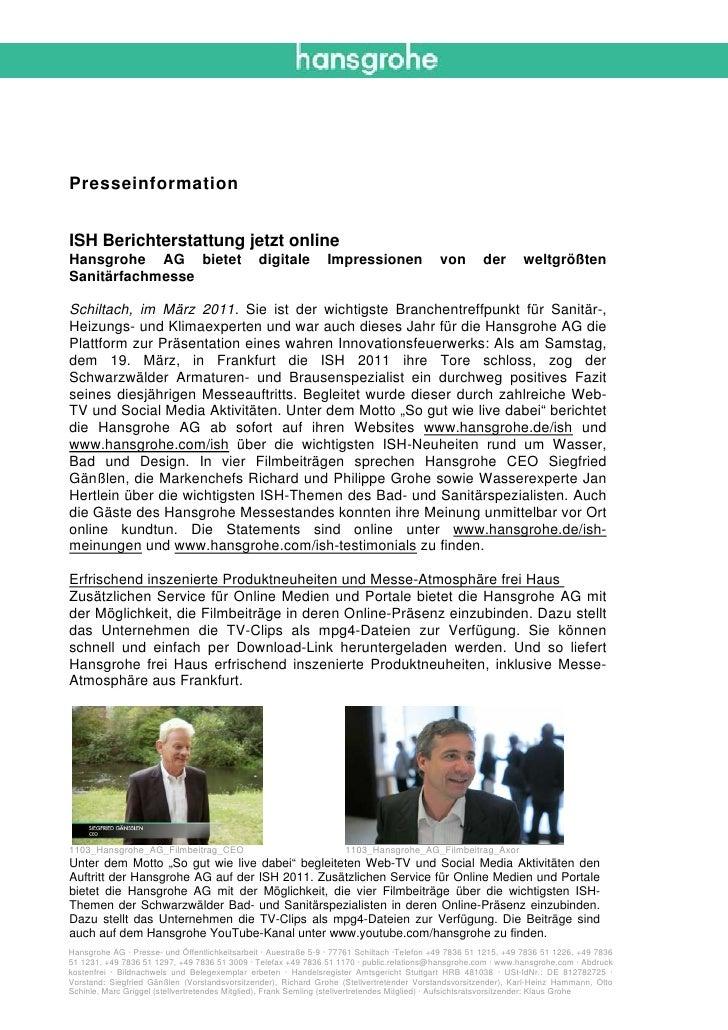 PresseinformationISH Berichterstattung jetzt onlineHansgrohe AG bietet                            digitale         Impress...