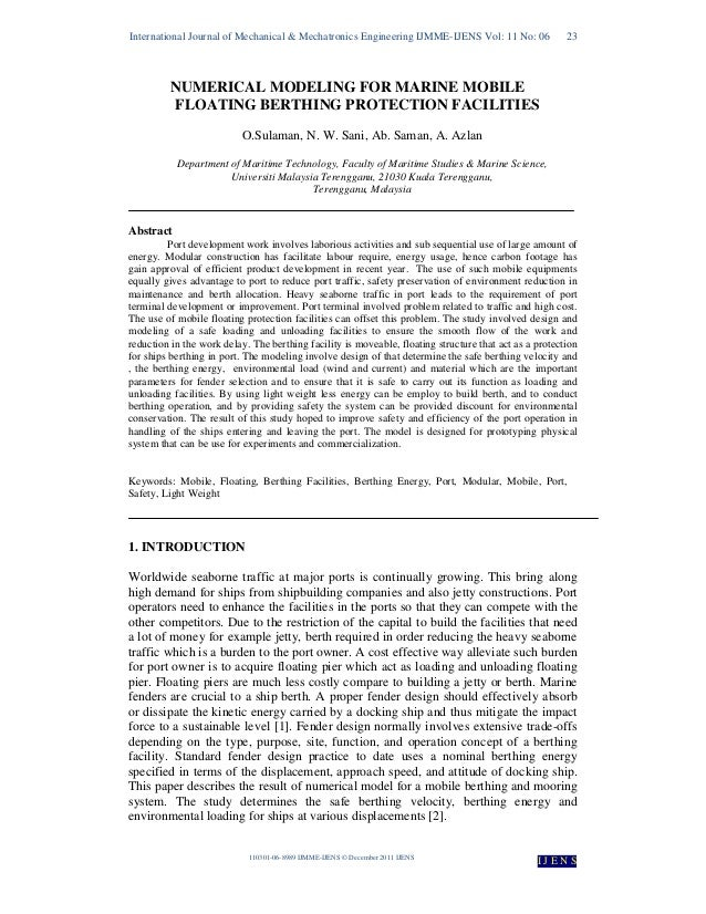 NUMERICAL MODELING FOR MARINE MOBILE