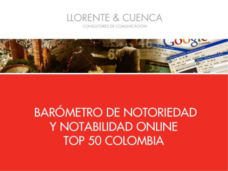 Barómetro de Notoriedad Online TOP 50 Colombia  2011