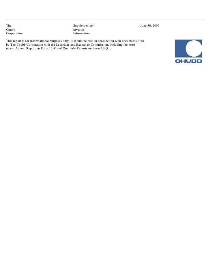 chubb3902 Supplementary Investor Information