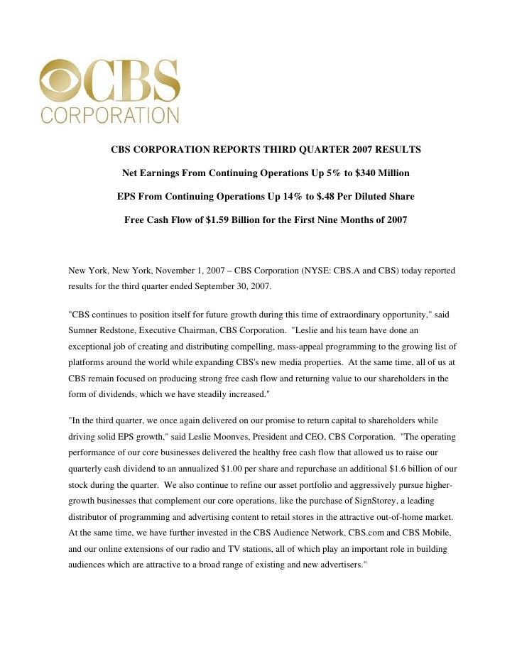 Q3Earnings November CBS Corporation