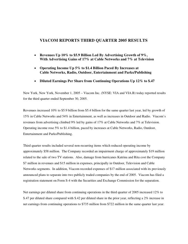VIACOM REPORTS THIRD QUARTER 2005 RESULTS           •   Revenues Up 10% to $5.9 Billion Led By Advertising Growth of 9%,  ...
