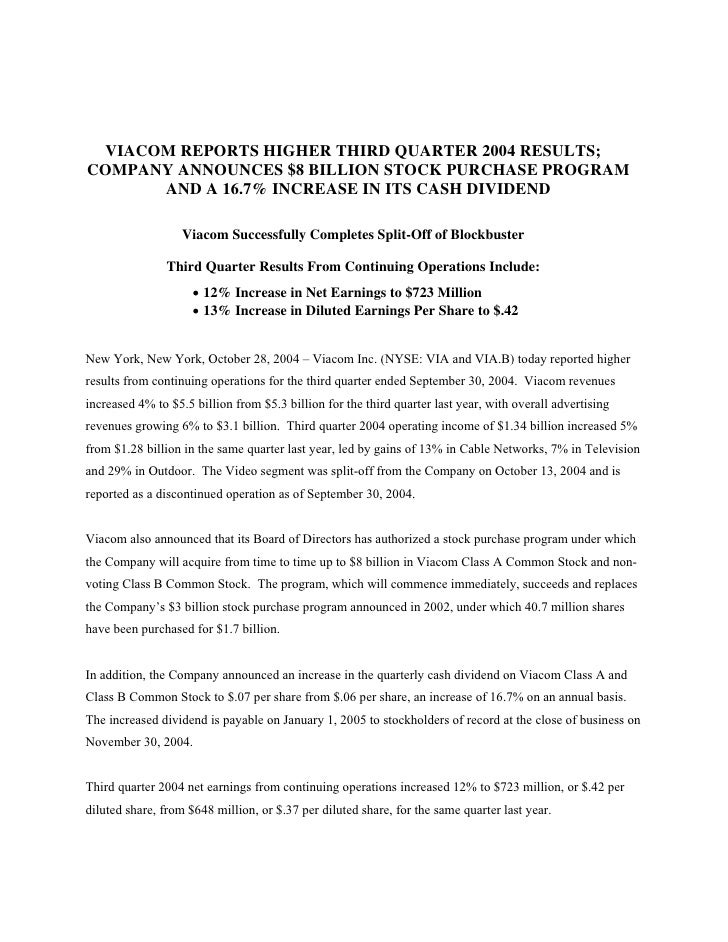 VIACOM REPORTS HIGHER THIRD QUARTER 2004 RESULTS; COMPANY ANNOUNCES $8 BILLION STOCK PURCHASE PROGRAM       AND A 16.7% IN...
