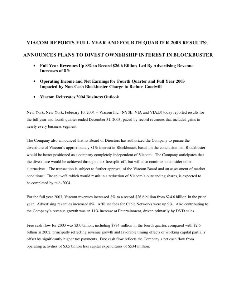 VIACOM REPORTS FULL YEAR AND FOURTH QUARTER 2003 RESULTS;  ANNOUNCES PLANS TO DIVEST OWNERSHIP INTEREST IN BLOCKBUSTER    ...