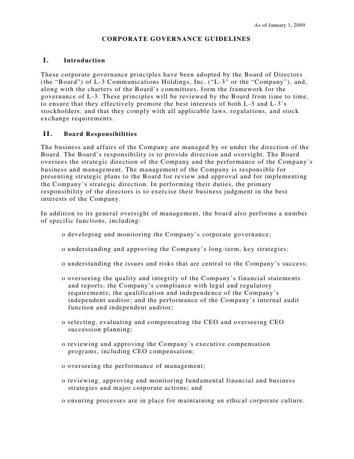 As of January 1, 2009                     CORPORATE GOVE RNANCE GUIDELINES   I.     Introduction  These corporate governan...