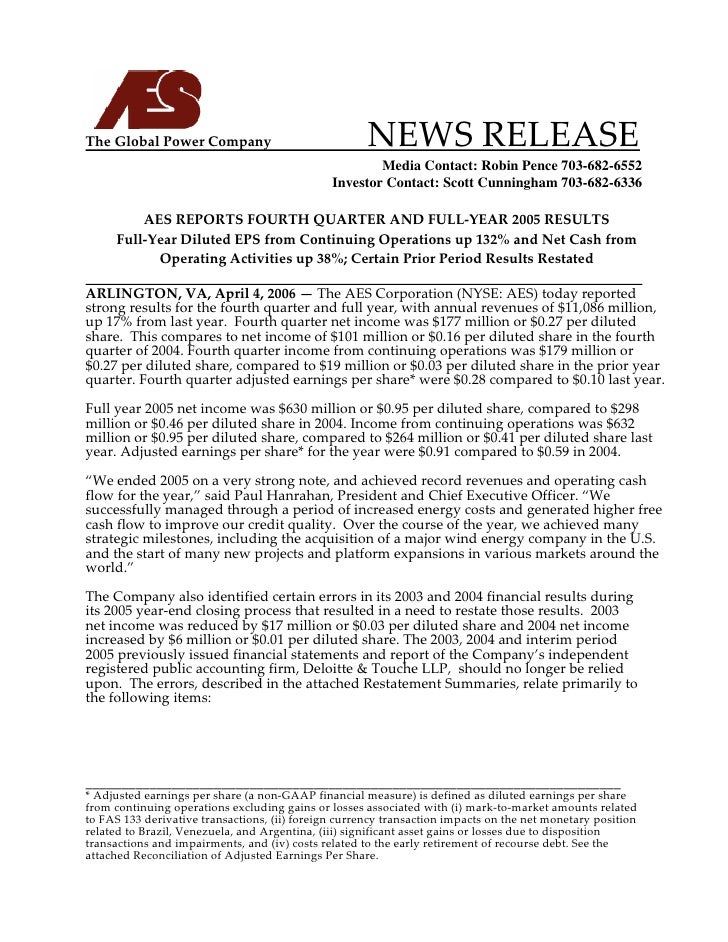 The Global Power Company                                NEWS RELEASE                                          ...