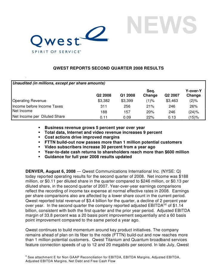 QWEST REPORTS SECOND QUARTER 2008 RESULTS       . Unaudited (in millions, except per share amounts)                       ...