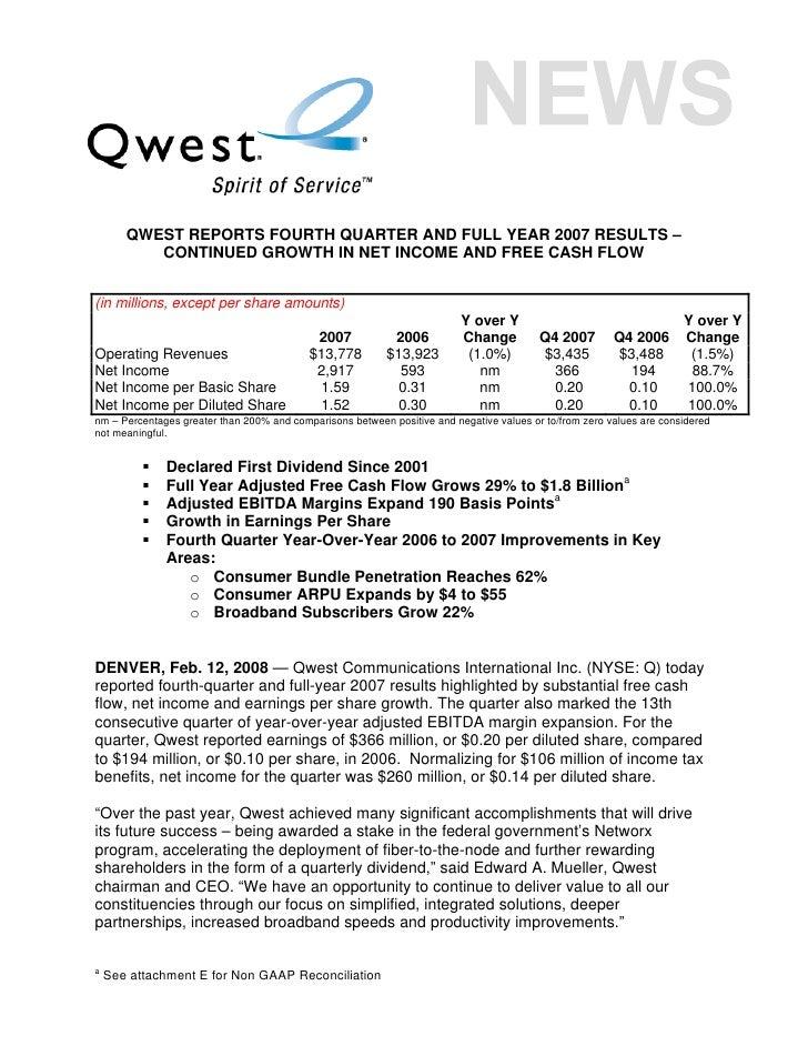 qwest communications Q_4Q07_ER