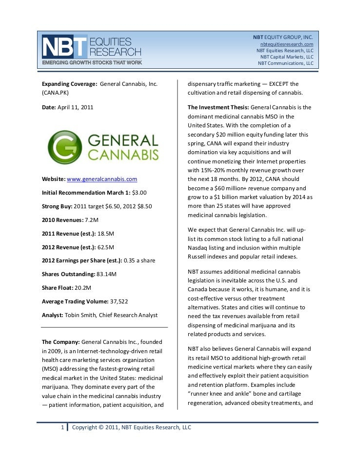 General Cannabis (CANA) NBT EQUITIES Research Report