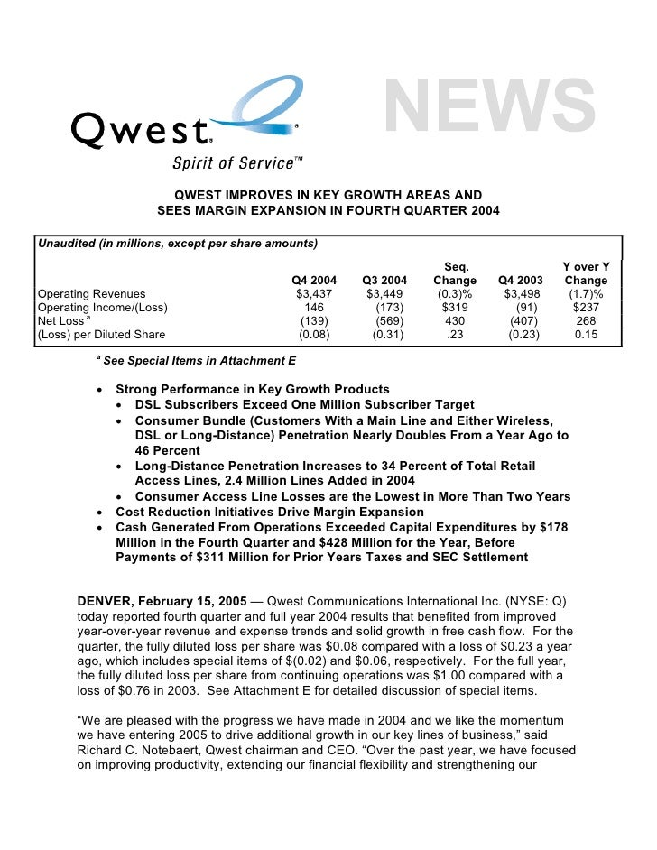 QWEST IMPROVES IN KEY GROWTH AREAS AND                        SEES MARGIN EXPANSION IN FOURTH QUARTER 2004  Unaudited (in ...