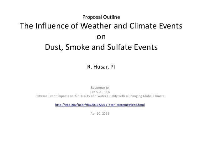 Proposal OutlineThe Influence of Weather and Climate Events                    on       Dust, Smoke and Sulfate Events    ...