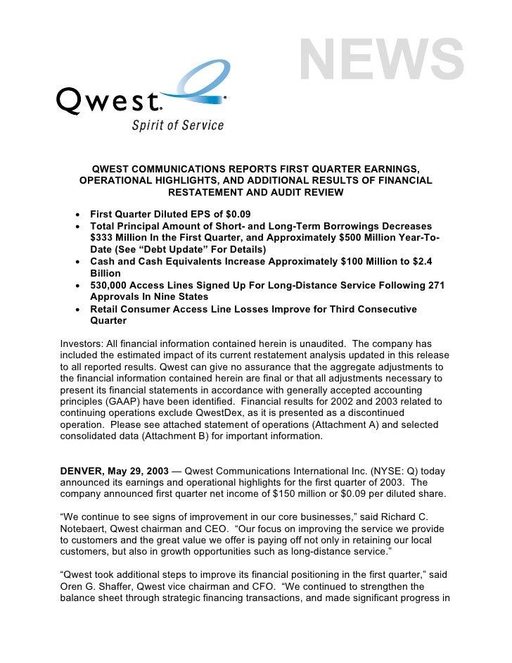 qwest communications 1Q 03_Earnings_Release